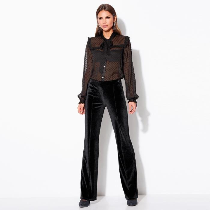 77fb04b797084 Pantalon habillé en velours femme Noir - Achat / Vente pantalon ...