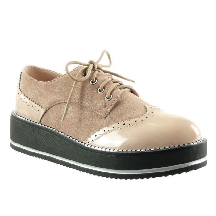 Angkorly - Chaussure Mode Derbies plateforme bi-matière femme fermeture zip verni perforée Talon compensé 4.5 CM - Rose - TS6889 T