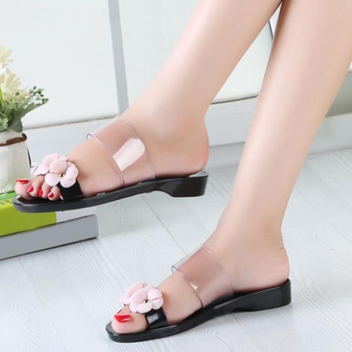 Été Nouveau mode Casual frais cristal plat Chaussons femme Appliques Sandales