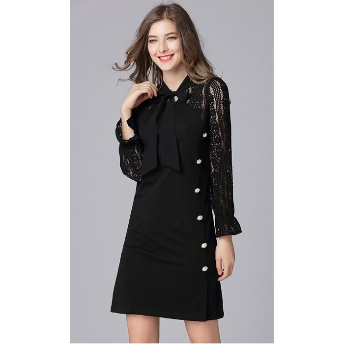 2a80b62955a femmes robe de bureau à manches longues grande taille noir dentelle droite  nouvelle automne 2018