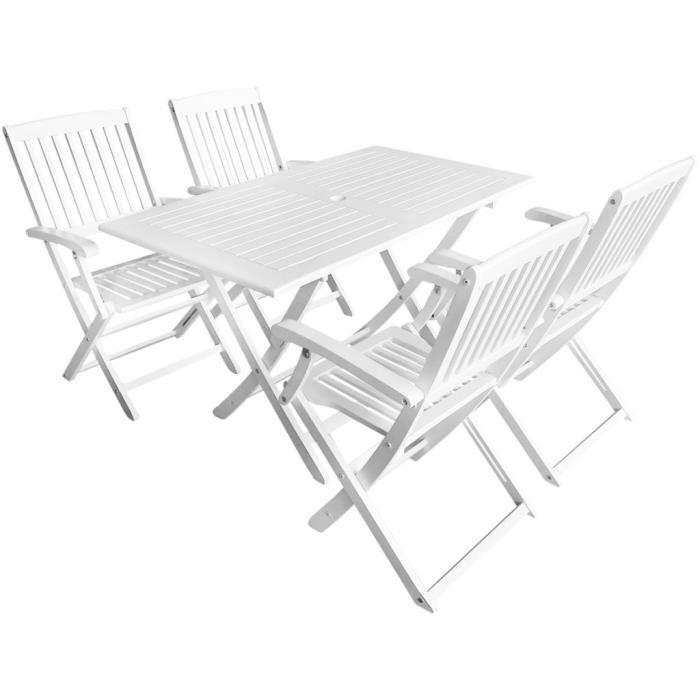Ensembles de meubles d\'extérieur Salon de jardin 5 pcs Blanc Bois d ...