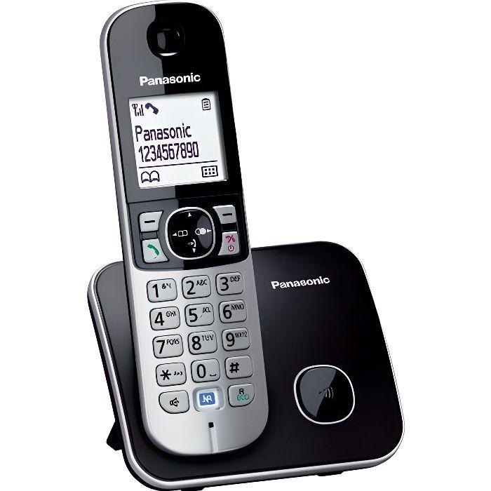 6095ce941803fb Panasonic KX-TG6811 Solo Téléphone Sans Fil Sans Répondeur Noir ...