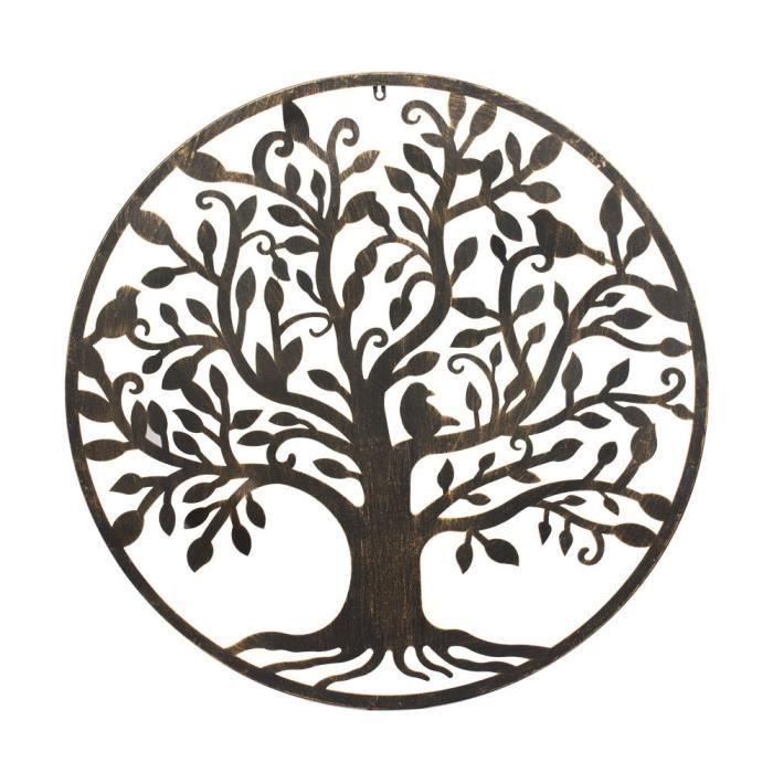 d coration murale ronde arbre avec ses oiseaux en m tal