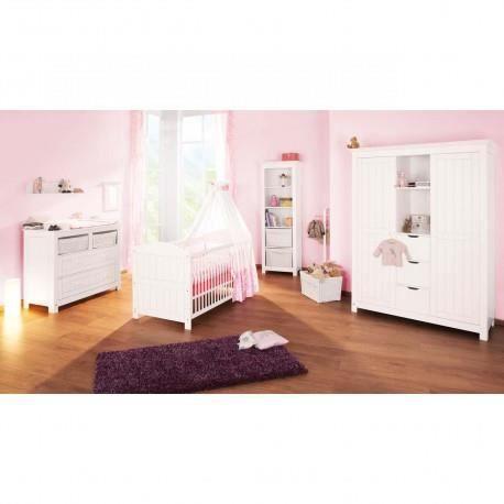 Chambre bébé (lit + table à langer grand + armoire) - Nina - Achat ...