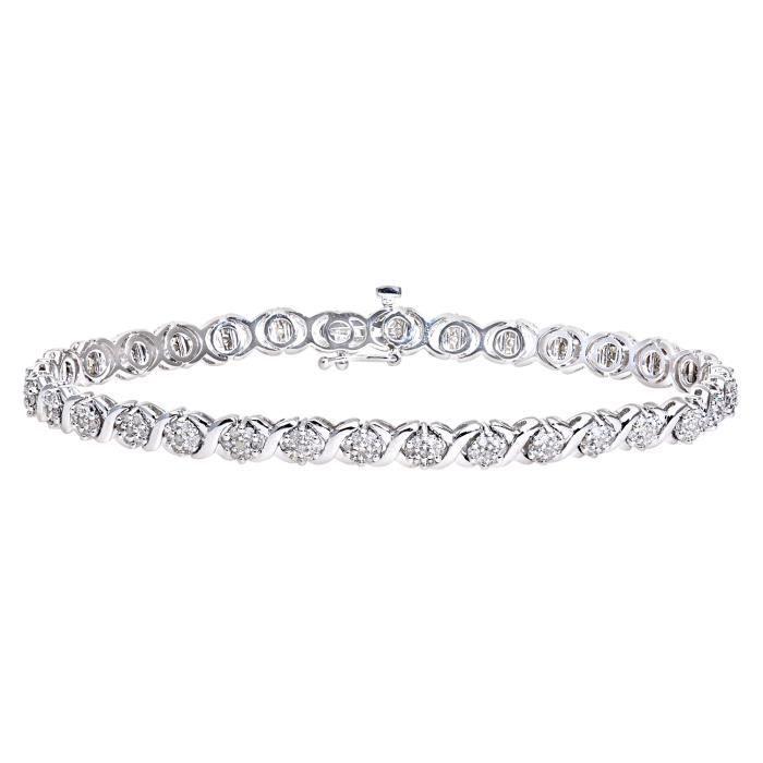 Revoni - Bracelet en or blanc 9 carats et diamants- REVCDPBC02517W