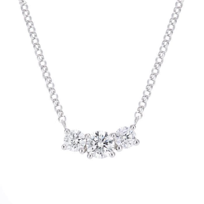 Revoni - Collier pendentif trilogie en or blanc 18 carats et diamants 0,40 carat