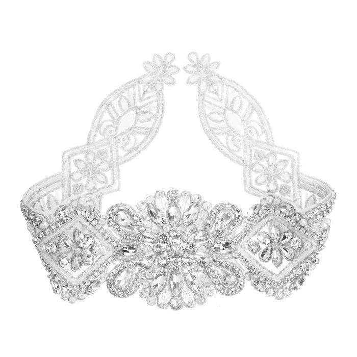TEMPSA Femme DIY Cristal De Mariée Ceinture Strass Applique Pour Mariage  Fête Argent 90aae83385d