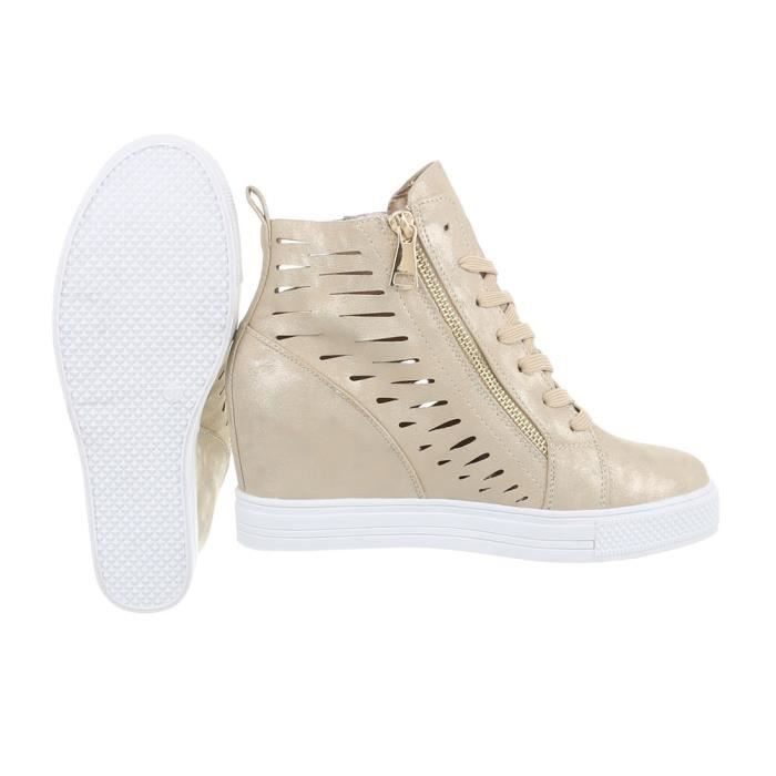 femmes chaussures Loisirs Chaussures coin Wedges Sneakers or 36
