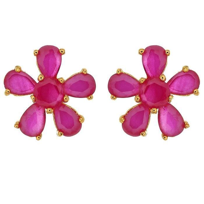 Cristal Rose Femmes Fleur Ensemble pendentif pourEHXZA