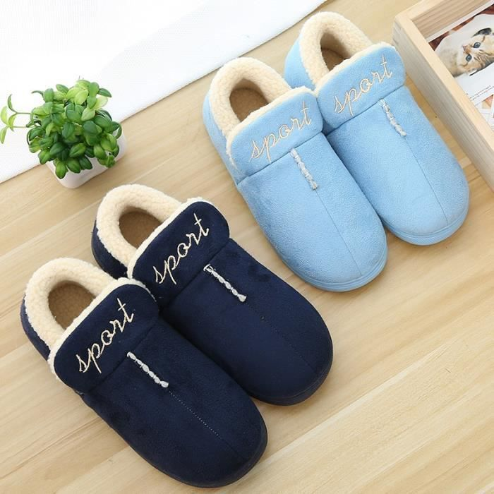 HOT 2017 nouveau style Belle sol souple Pantoufles coton chaud femmes d'hiver Pantoufles pantoufles Casual en 8 couleurs,bleu