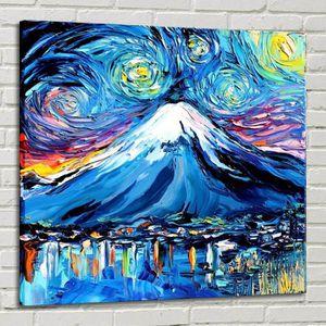 TABLEAU - TOILE Van Gogh Mount Fuji Japan Home Décor Peinture à l'