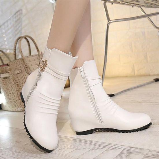 Femmes Mode Sexy Zippers Botte Bottines de Lady Bottes confortables en cuir blanc ASD488 Blanc Blanc - Achat / Vente botte