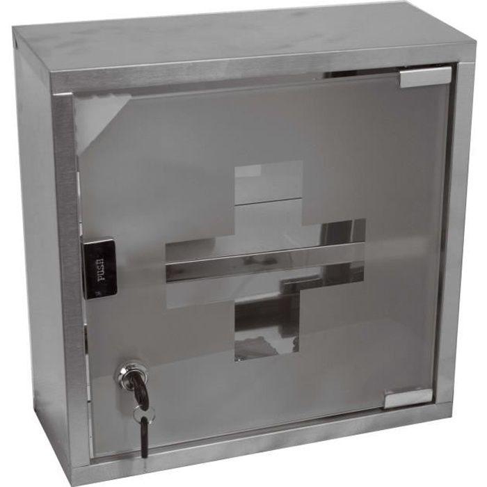 Armoire à pharmacie Inox - Porte en verre - Fermeture à clé 30 x 12 x 30 cmPORTE ACCESSOIRE DE SALLE DE BAIN