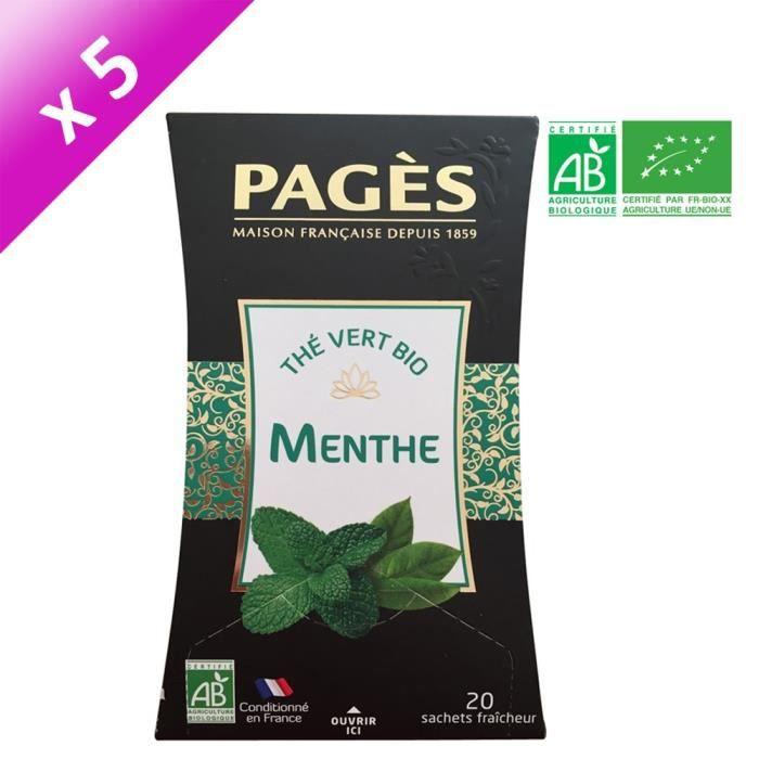 PAGES Lot de 5 Thés Vert Menthe Bio