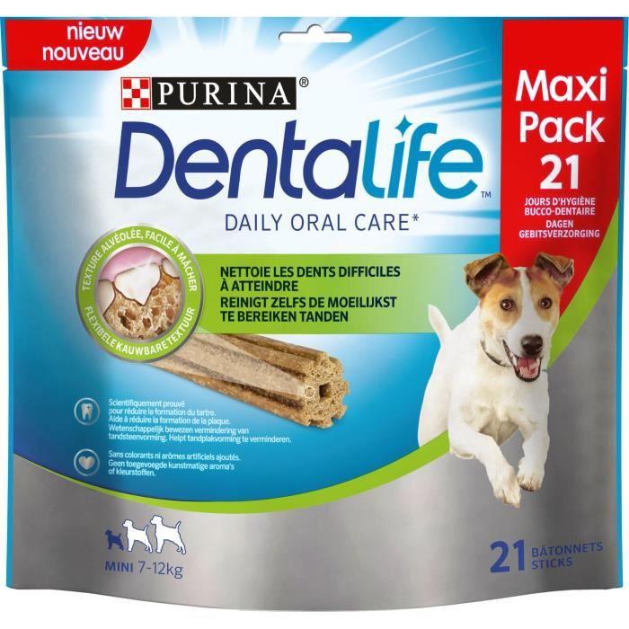 PURINA DENTALIFE Lot de 21 bâtonnets à mâcher mini-maxi Pack - Hygiène bucco-dentaire - 345 g - Pour chiens de petite taille