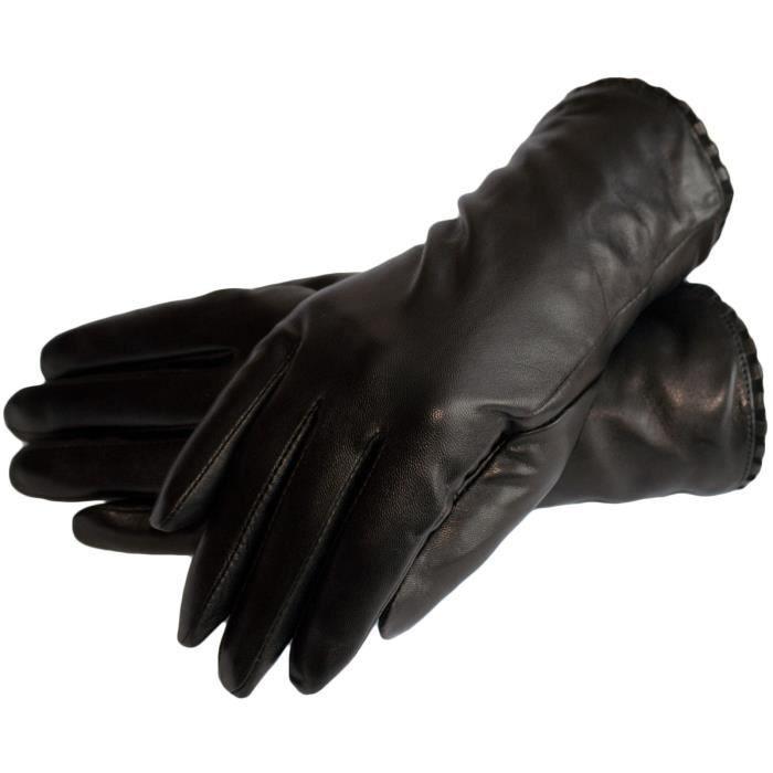 Dazoriginal Gants femme cuir gants en cuir véritable souple pour femme cuir  d agneau doublure en cachemire hiver chaud Size 6.5 Noir b38894fc228