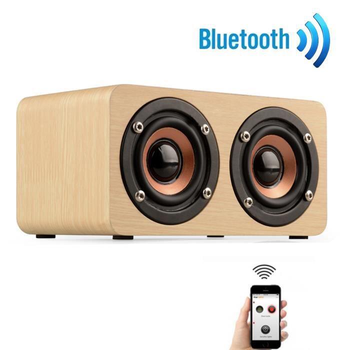 Haut-parleur Portable Bluetooth Sans Fil En Bois Rétro 3d Starhope82
