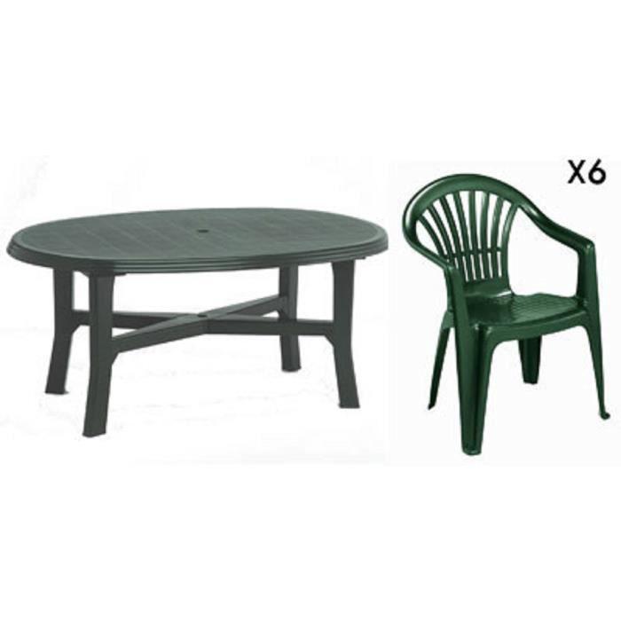 Table ovale verte + 6 fauteuils jardin plastique vert empilables ...