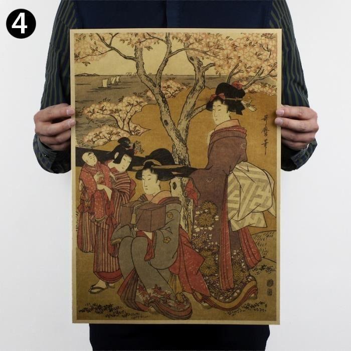 Affiche De Mur Papier Kraft Décoration Murale Kanagawa Japon Ukiyo