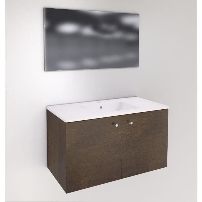 Meuble 2 portes 90 cm + plan vasque céramique - Chêne foncé - Achat ...
