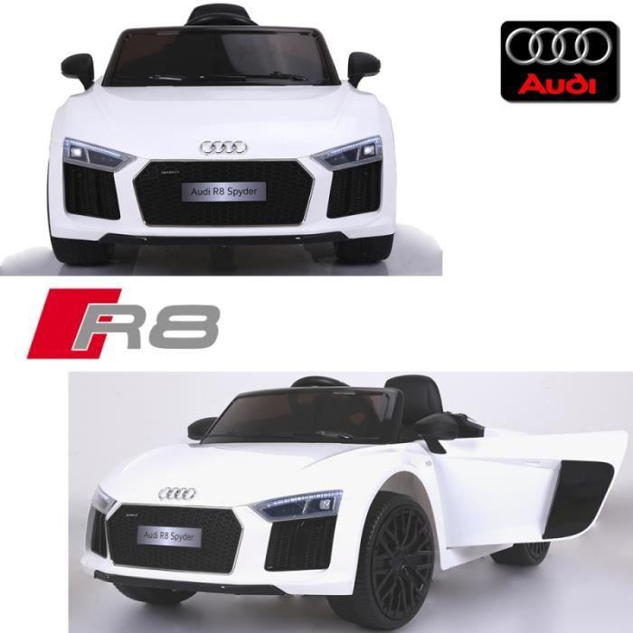 0c0c30038d95 Voiture électrique enfant 12 volts nouvelle Audi R8 pack luxe blanche à  télécommande parentale siège simili cuir audio bluetooth