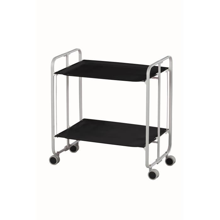 table roulante pliante ch ssis gris plateaux noir achat vente desserte billot table. Black Bedroom Furniture Sets. Home Design Ideas