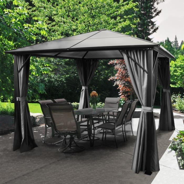 tonnelle toit polycarbonate 3x3 m rideaux gris 275 000000. Black Bedroom Furniture Sets. Home Design Ideas