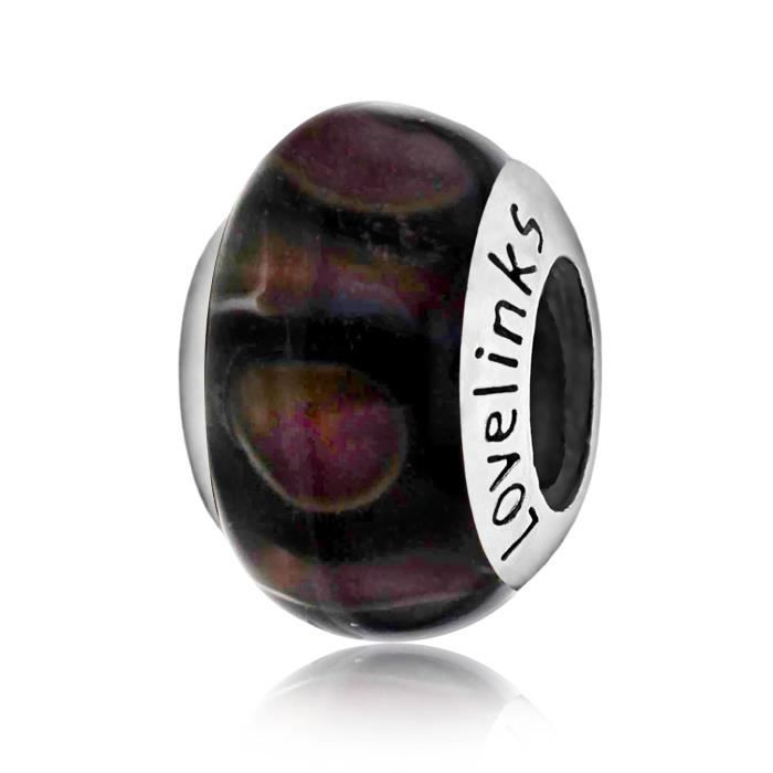 Lovelinks femmes 925 cercles en argent sterling à rayures mauves et perles de verre noir 1M02FO