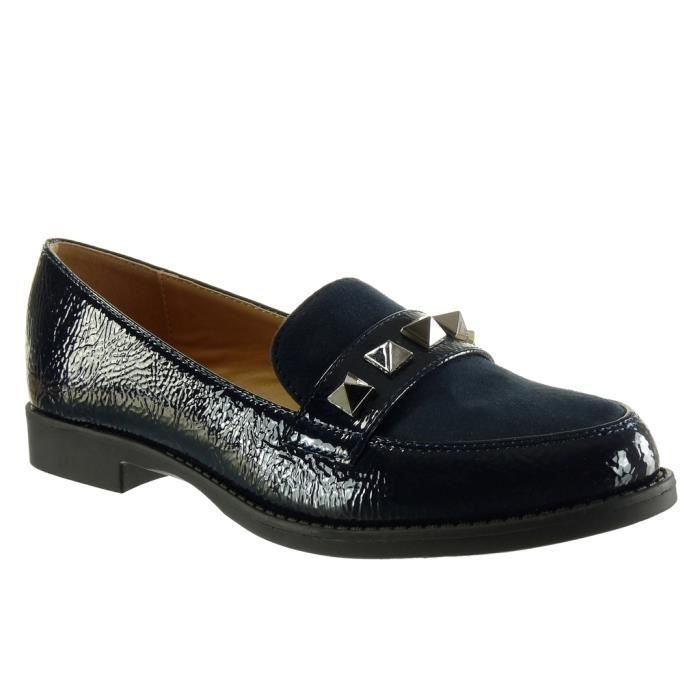 Angkorly - Chaussure Mode Mocassin bi-matière slip-on femme clouté verni Talon bloc 2 CM - Bleu - YT03 T 41 5qffs7JRYI