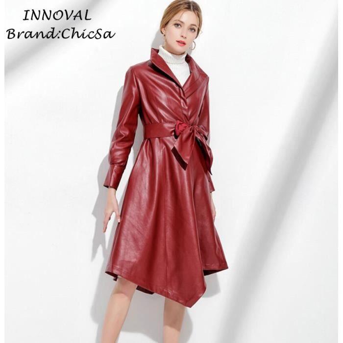 ... Grande Taille Blouson Imitation Peau de Mouton Manteaux. Imperméable -  Trench Européen Irrégulier Longue Manteau Femme ... 57b72c6c3d4