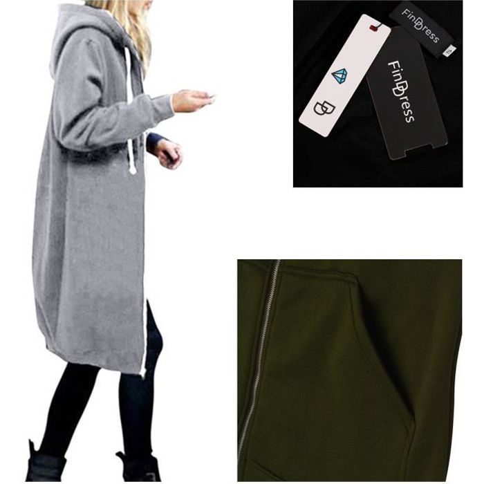 ae74abad4c0 FindDress Cardigan a Capuche Femme Hiver Chaud Gilet Grande Taille ...