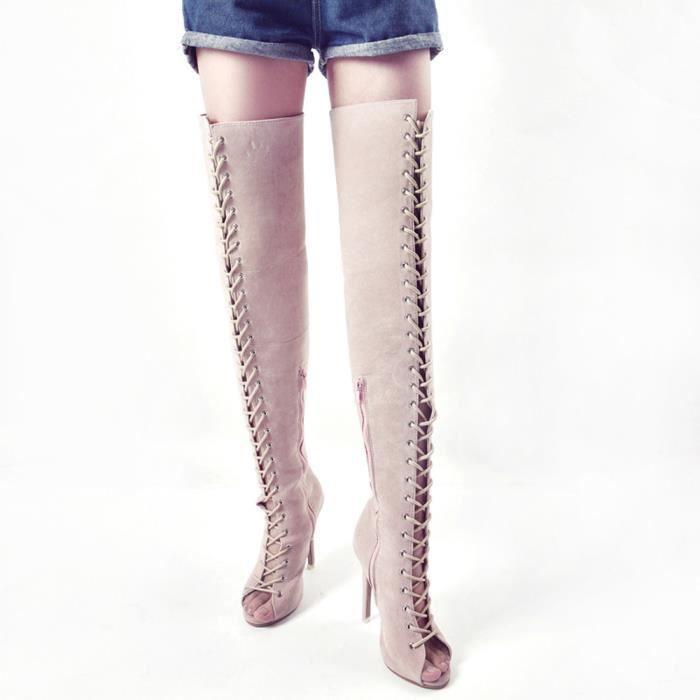 Mode Femmes Haut Au Genou Bottes Sexy Longue Botte Chaussures Poissons Bouche Noir hN6PGisD