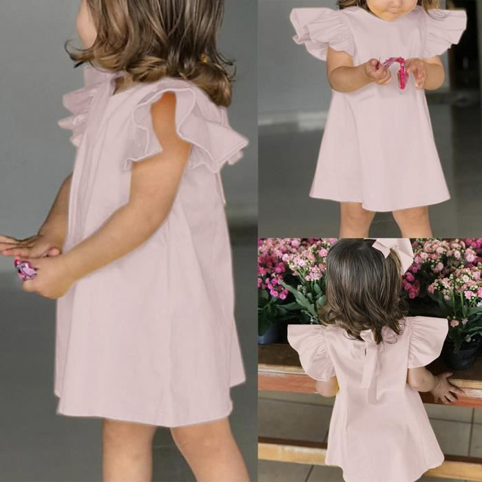 Bow Infant Summer Robes Solides Baby Vêtements Manches Robe Fly Rose Girls B0w4qpndwH