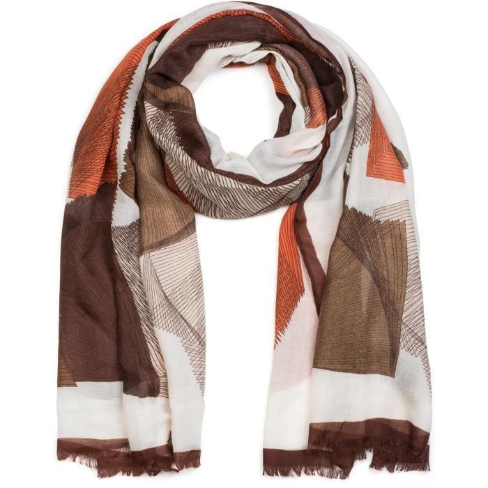 86616e75140 Foulard marron et beige - Achat   Vente pas cher