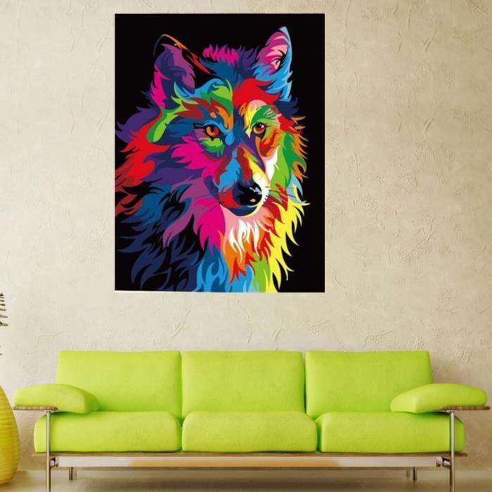 Tableau loup design 5 tempsa tableau peinture diy loup animaux dessiner