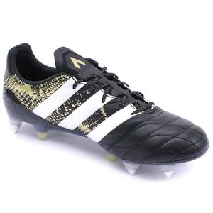 low priced e9655 c60f7 ... CHAUSSURES DE FOOTBALL Chaussures Ace 16.1 SG Cuir Football Noir Homme  Ad ...