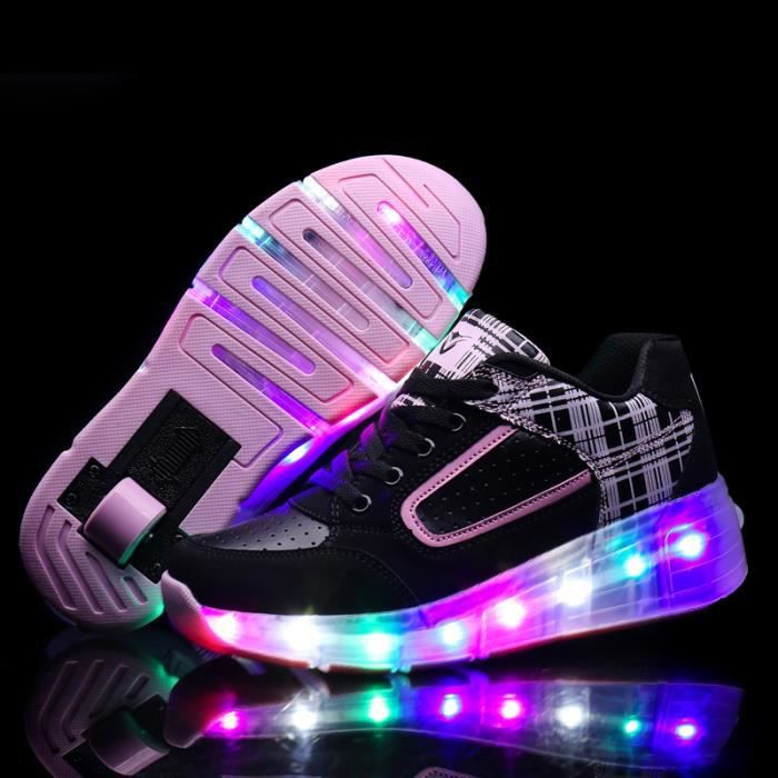 Enfant led light chaussures single wheel garçon fille USB rechargeable rose sneakers