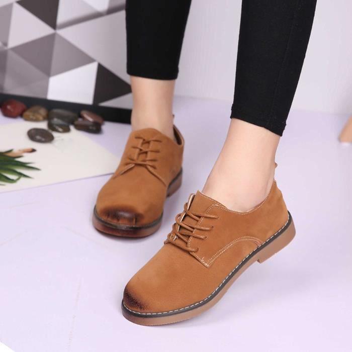 Napoulen®Femmes Flats chaussures de mode mocassins Quatre saisons populaire Marron-XYM70901904BW