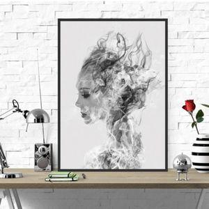 Tableau murale decoration maison chambre noir blanc - Achat / Vente ...