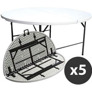 TABLE DE JARDIN  Table ronde pliante 180 cm - Lot de 5