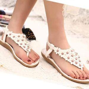 SANDALE - NU-PIEDS Chaussures@ Sandales perlées femme été Blanc + 41