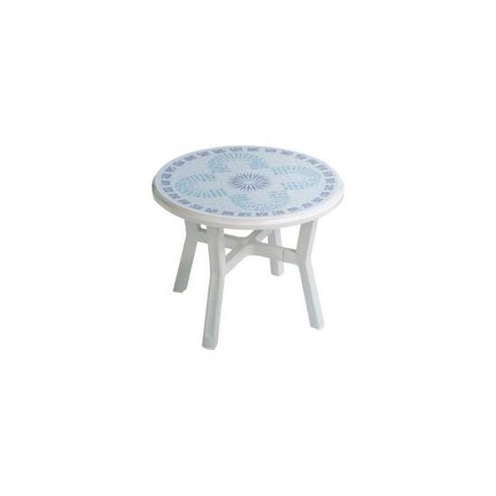Salon blanc résine décore table ronde vg salon déco table + 4 fauteuils