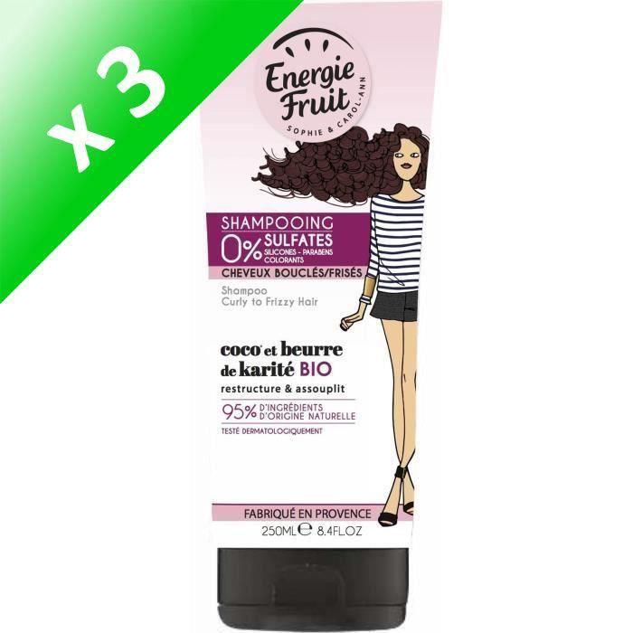 ENERGIE FRUIT Shampoing pour cheveux bouclés ou frisés - Coco et Beurre de Karité - 250 ml (Lot de 3)