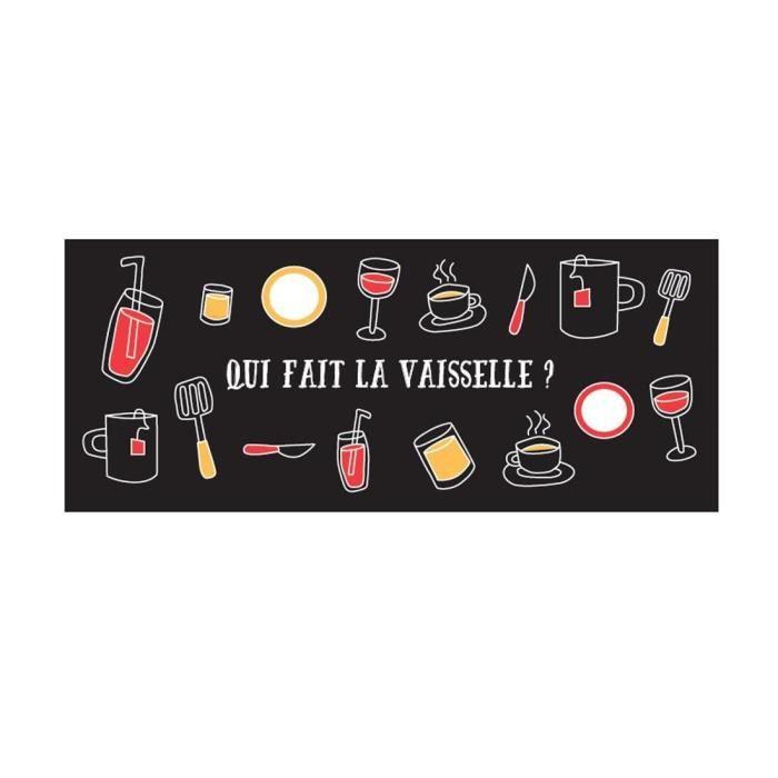 FRANDIS Tapis de cuisine - 50 x 120 cm - Vaisselle noir