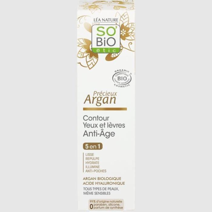 LEA NATURE SO BIO Contour Bio pour yeux et lèvres anti-âge Précieux argan - 5 actions - 15 ml