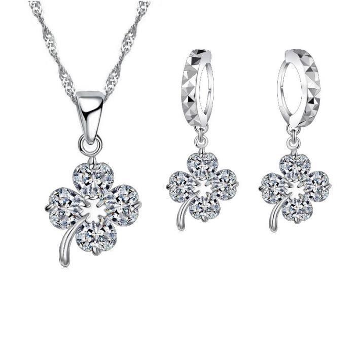 Parure bijoux trèfle oxyde de zirconium argent 925