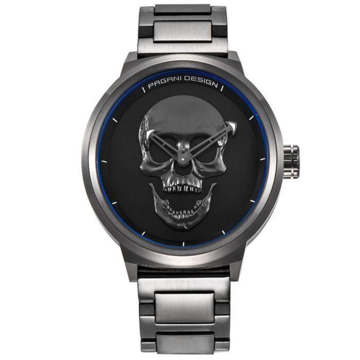montre skull montres homme grande marque de luxe montre acier homme montre chronographe homme. Black Bedroom Furniture Sets. Home Design Ideas