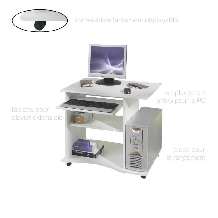 Bureau Informatique Meuble Informatique Bureau PC Meuble PC Meuble informatique Bureau pour ordinateur Blanc Rangement Tablette