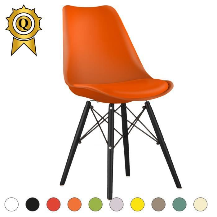 1 X Chaise Scandinave Inspiration Eiffel Eames Bois Noir Orange MobistylR