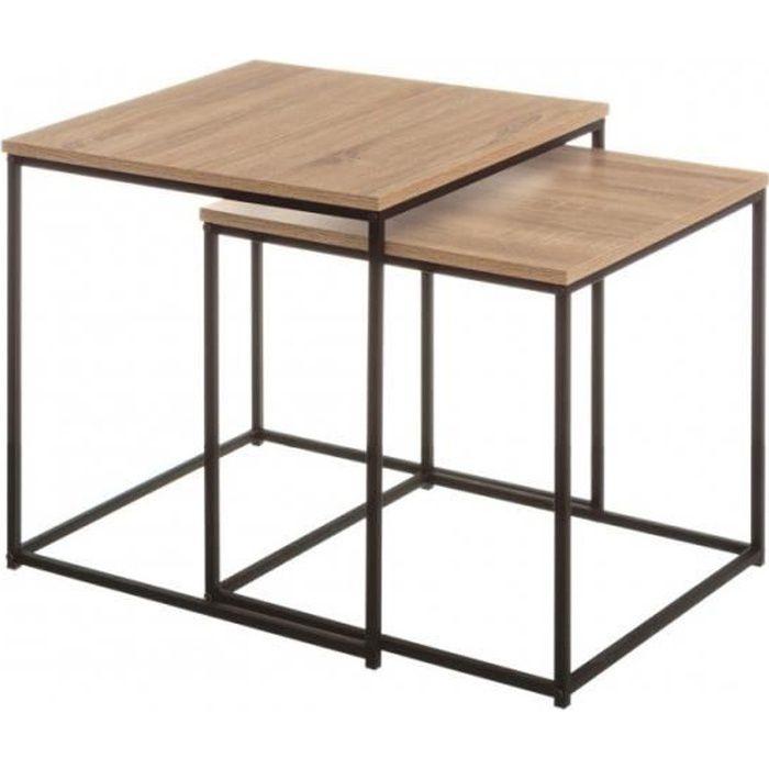 Set De 2 Tables Basses Gigognes Bois Mdf Et Métal Noir 0000000